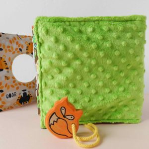 green-quiet-book-for-baby-with-wooden-fox