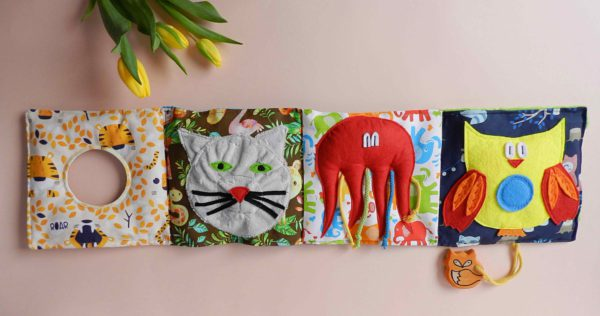 sensory-activities-for-baby-with-fluffy-cat-red-octopus-and-owl