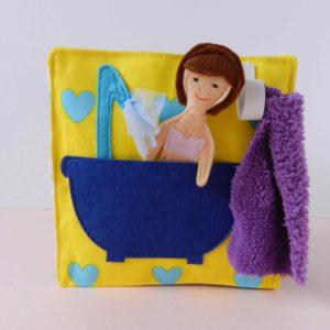 quiet-book-dollhouse-with-felt-doll-in-bath